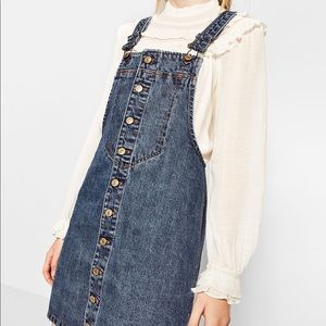 Zara denim overall dress
